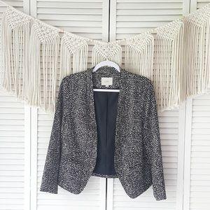 LOFT Black Speckled Open Front Blazer Jacket M